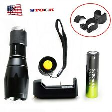 Tactical 9000LM XM-L T6 LED Flashlight Powerful Lamp Zoom+18650BTY*Charger+ClipG