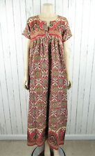 New listing Vintage India Indian Cotton Color Block Print Maxi Dress Caftan Kaftan MuuMuu