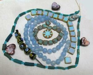 Lampwork Indonesian, Czech Baby Blue, Afghan Ancient beads, Hearts + Goddess