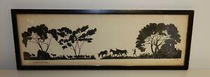 Vintage Framed & Glazed L.E.Curtis Silhouette African Animals Landscape Print