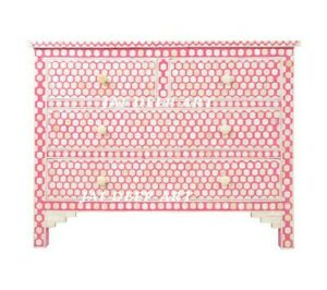 Handmade Pink Bone Inlay Solid Wood Honeycomb Sideboard Commode Dresser Chest