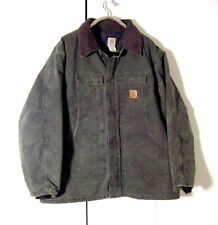 Vtg Distressed Carhartt Moss Green Denim Corduroy Collar Quilted Jacket Sz 3Xl