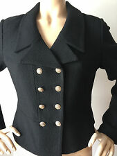 NEW ST JOHN KNIT SZ 10 WOMENS JACKET BLACK CAVIAR BOUCLE KNIT DOUBLE BREASTED