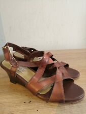 Womens TANGLING Brown Leather Wedge Sandals UK Size 3 EU 36
