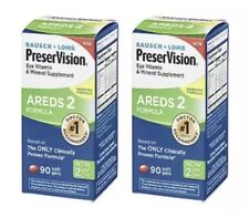 🔥🎁2 Pack Bausch Lomb Preservision AREDS 2 Formula 90 x2 180 Softgels 10/2021