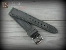 Cinturino in Pelle Scamosciata LS SUEDE vintage 18 20 22 Watch Strap Grigio