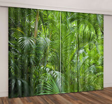 3D Blockout Fabric Window Curtain Tropical Jungle Palm Tree 2 Panels Set Drapes