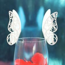 Lot 50 Marque Place Papillon Mariage Carte Nom Art Déco Verre Table Beige #7
