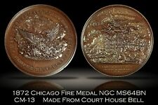 1872 Chicago Fire Court House Bell Medal NGC MS64BN CM-13 Finest Known w/ VIDEO