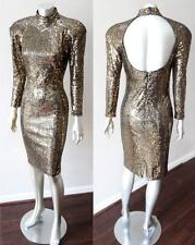 Lillie Rubin Retro Vintage Gold Sequin Halter Open Back Long Slv Party Dress S