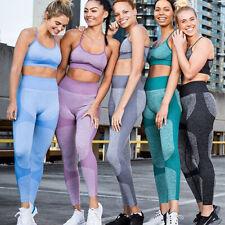 Womens Yoga Sports Bra Leggings Set Gym Pants Push Up Cropped Seamless Workout
