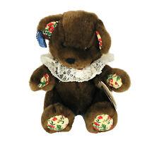 "Applause Mocha Bon Bon Brown Stuffed Teddy Bear 8"" Enchanted Christmas Plush"