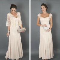 Plus Size Champagne Mother of the Bride Dresses with Lace Jackets Chiffon Custom