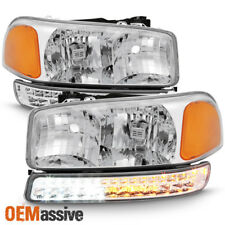 1999-2006 GMC Sierra Yukon XL Clear Headlights + LED Bumper Signal Lights Lamps