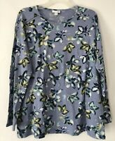 NEW J. JILL 1X 2X 3X Floral Shirt Top Stitched Sleeves L/S Cotton/Modal/Spx Blue