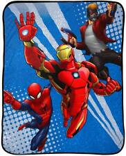 "Marvel Avengers 46"" x 60"" Plush Throw - Iron Man, Spider-Man, Star Lord - NEW"