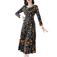 Ladies Women Leisure Dresses Crew--neck Long-sleeve Floral Printing Party Dress