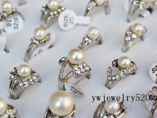 Fashion Wholesale Lots 20pcs Pearl & Silver Plated Women's Rings