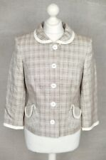 PAUL COSTELLOE Brown check boucle formal tweed knit jacket UK 10