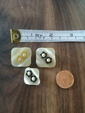 Unusual Vintage Square Flower Buttons hippy Boho 70's