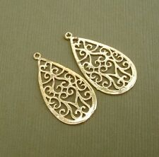 2pcs- 14K Gold Plated Oriental Pendant Earrings Jewelry Supply.
