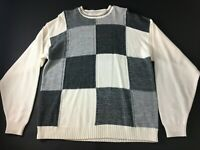 Bachrach Mens Gray White Color Block Mens Long Sleeve Sweater Size XL