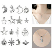 23Pcs Bulk Tibetan Silver Mixed Star Moon Sun Charm Pendants Jewelry DIY Making