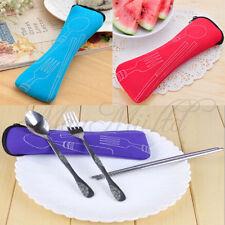 Cutlery Set 3 PCS Zipped Holder Bag Travel Picnic Chopstick Spoon Fork NewBrandM