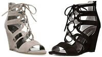 CARLOS MADELYN WOMENS WEDGE HEEL SANDALS SHOES OPEN TOE STRAPPY LACE UP REAR ZIP