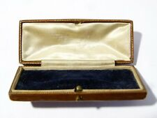 Antique Brown Leather Jewellery Box Case for Brooch, Stick Pin, Tie Stock Clip