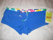 Hobie Swimsuit Small Womens New Boy Leg Bikini Bottoms Blue Multi