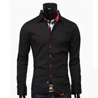 Black/White New Mens Luxury Stylish Casual Dress Slim Fit Shirts 3 Size S M L