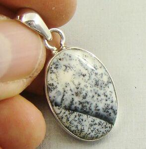 Semi-Precious DENDRITIC OPAL Gemstone 925 Sterling Silver Pendant - A75