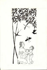 Mother Child Birds Butterfly Ink drawing by unknown Russian artist