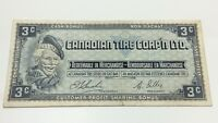 1961 Canadian Tire 3 Three Cents CTC-S1-A Circulated Money Banknote D187