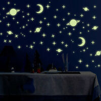 AM_ Glow In The Dark Luminous Wall Stickers Space Planets Pattern Bedroom Decor