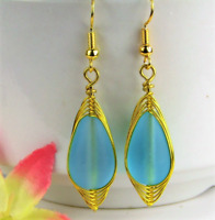 SEA GLASS Teardrop Caribbean Blue Weave Wire GOLD Dangle Earrings USA HANDMADE