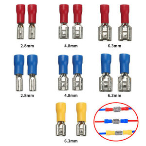 100/50pcs Female&Male Spade Insulated Connector Crimp Electrical Wire Terminal