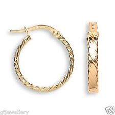 9CT HALLMARKED YELLOW GOLD 19MM FLAT TWIST POLISHED ROUND HOOP EARRINGS