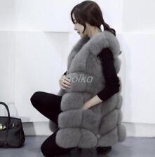 Womens Fox Fur Sleeveless Coat Winter Vest Warm Waistcoat Parkas Overcoat casual
