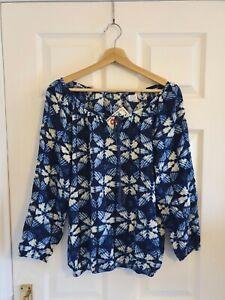 Gringo Fairtrade Indigo Vegetable Dye Cotton 3/4 Sleeve Blouse One Size
