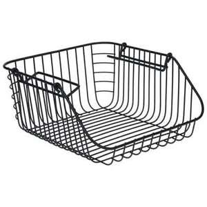 Wire Basket Black Storage Basket Metal Wire Basket with Handle 30*27*14 cm