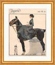 Titelseite der Nummer 46 von 1915 Jugendstil Pferd Reiterin Amazone Jugend 1050