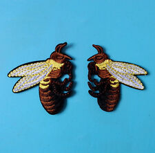 """2pcs/1pair Bumble Bee Embroidered patches Sew on cool Applique DIY 3"""""""