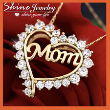 9K YELLOW GOLD GF MOM LOVE HEART CRYSTAL PENDANT NECKLACE MUM MOTHER DAY GIFT