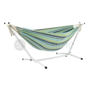 Single Person Garden Camping Canvas Hammock Hang Bed Outdoor Swing with Stand UK