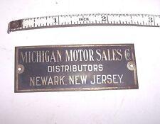 MICHIGAN MOTOR SALES CO DISTRIBUTORS / NEWARK , NEW JERSEY BRASS ID TAG