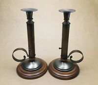 """Lot of 2 Brass Wood Candle Holders Round Base Candlesticks 10.5"""" Tall"""