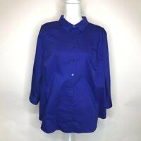 WORTHINGTON Womens Size 2X  Blue Long  Sleeve Button Shirt Blouse Top