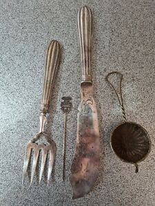 Antique Plated Fish Servers